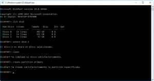 Captura de pantalla de Diskpart