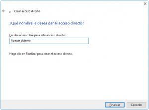 Nombre del acceso directo para apagar el sistema
