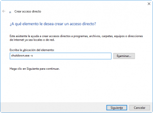 Acceso directo para apagar Windows