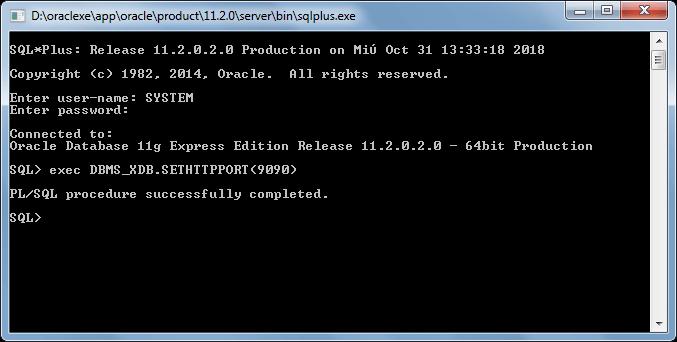 Cambiar puerto de Oracle apex