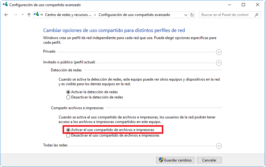 Compartir Impresora desde el Panel de Control de Windows 10