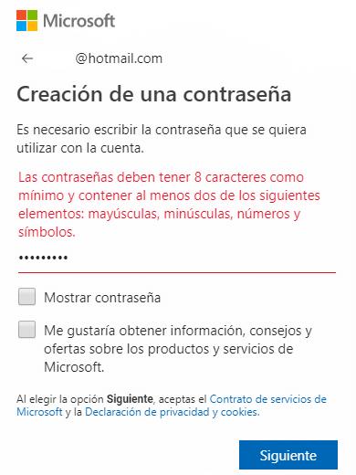 Tercer paso para crear una cuenta en hotmail o Outlook